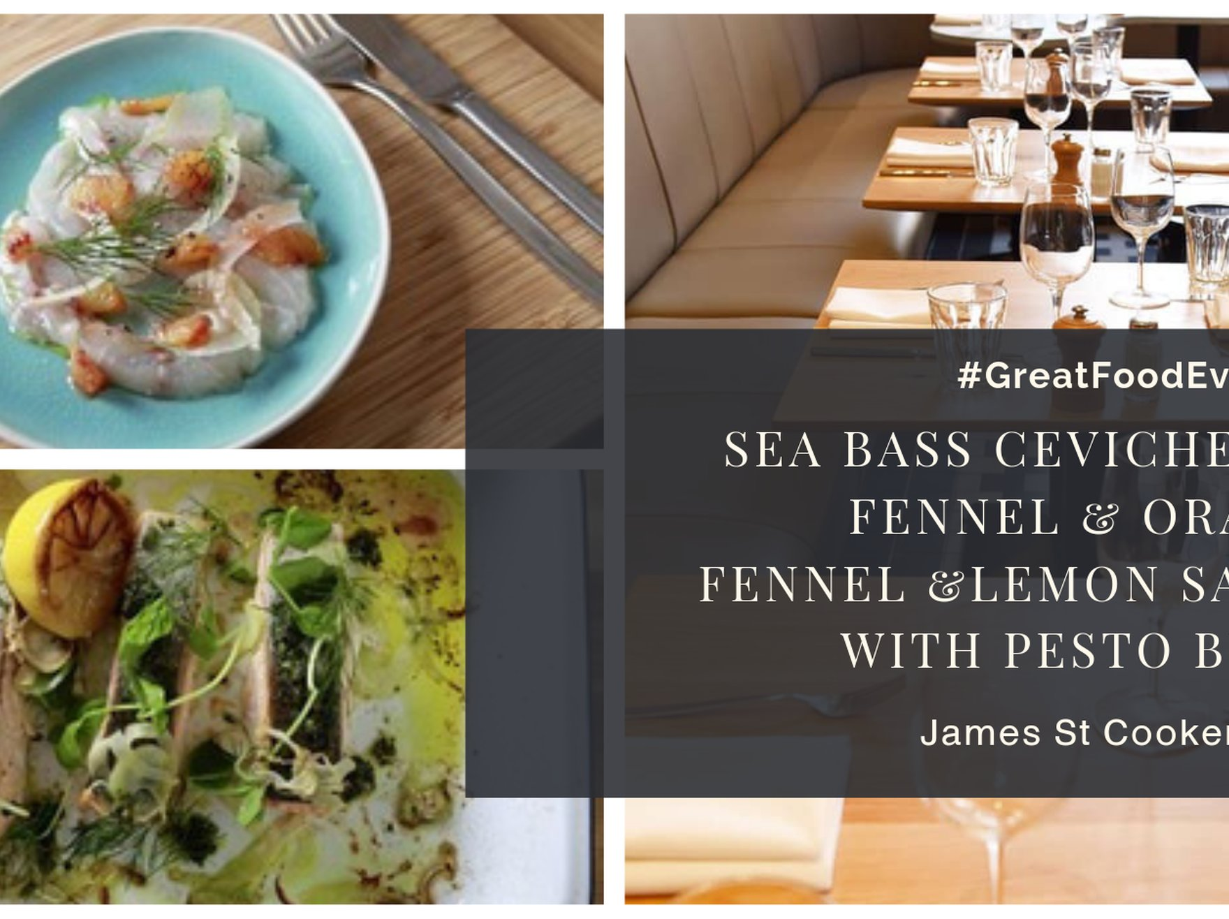 Sea bass ceviche with fennel and orange; Fennel and lemon salmon with pesto butter
