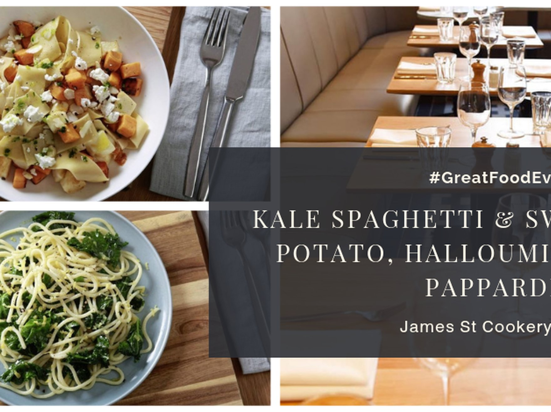 Kale Spaghetti and Sweet Potato, Halloumi and Pappardelle