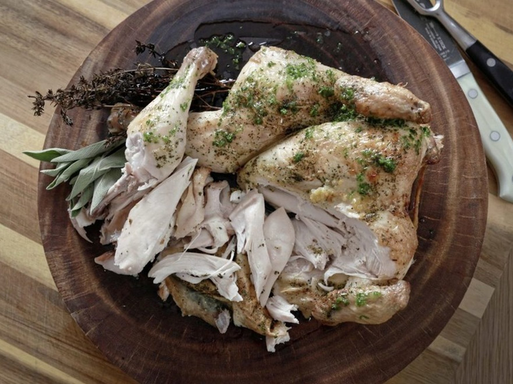 Roast chicken with herbs, crab fried rice | James St