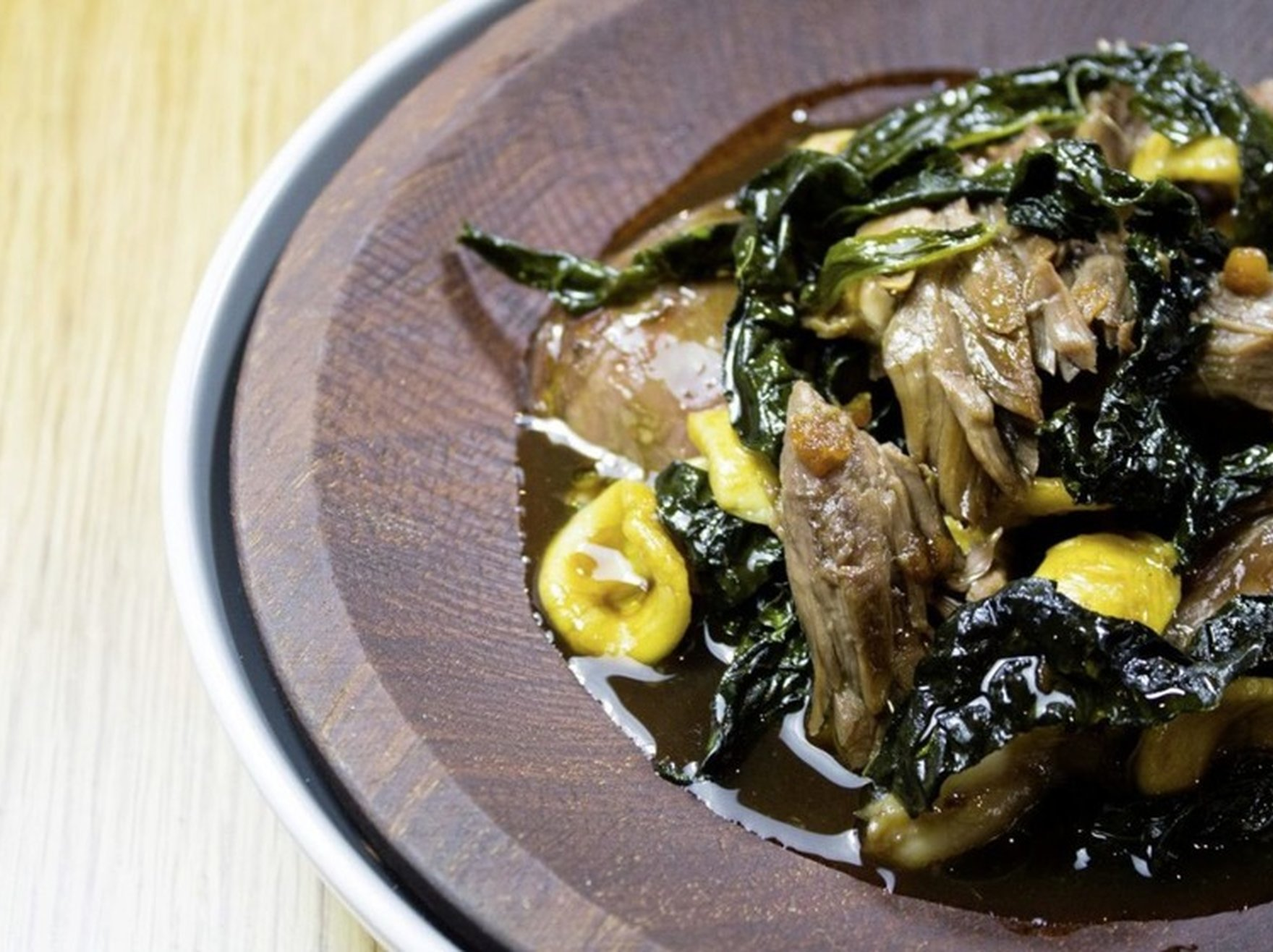 Lamb Shoulder, Orecchiette pasta & Cavelo Nero and Pork Belly & Spiced Plum Sauce